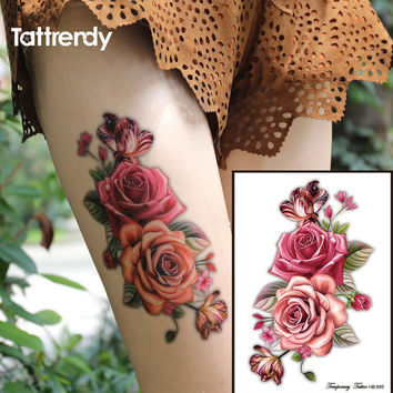 1piece Indian Arabic Fake temporary tattoos stickers 3D rose flowers arm shoulder tattoo waterproof for women big on body HB665