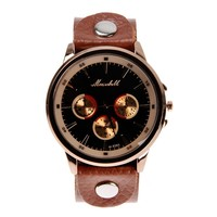 ZLYC Mens Vintage Sports Brown Leather Strap Black Round Dial Casual Wrist Watch Brown