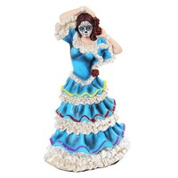 Skeleton Dancer Blue Folklorico Dress Statue Day of the Dead 8H