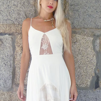Anita Ivory silk and vintage lace slip dress by dahlnyc on Etsy