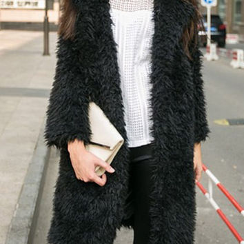 Mohair Design Lapel Neck Long Sleeve Midi Coat