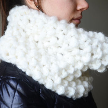 womens ivory cowl cable chunky neck warmers scarf wool cowl winter scarf gift ideas woman scarves birthday gifts valentines day gifts