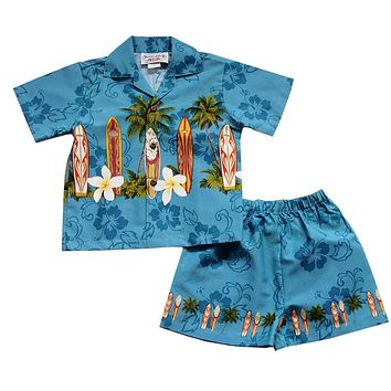 Surfboard Blue Hawaiian Boy Shirt & Shorts Set