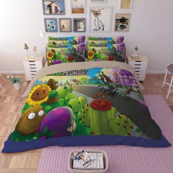 2017New 3D anime boys bedding sets Plants vs zombies Children bed Twin Full Queen king size 3pcs coverlet Pillow Case Hot sale