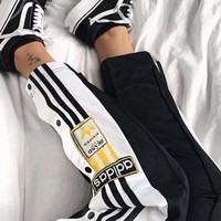 Adidas Originals Adibreak Poppe Pants Snap Track Bottom Women Men Sides Open Button Trousers Black