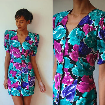 Vtg 80's Puff Shoulders Floral Print Button Down Dress