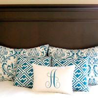 Shams Bedding Ensemble Full Queen Pillow Shams Aquarius Blue Decorative Throw Pillow Covers Set of Five Covers with Monogram