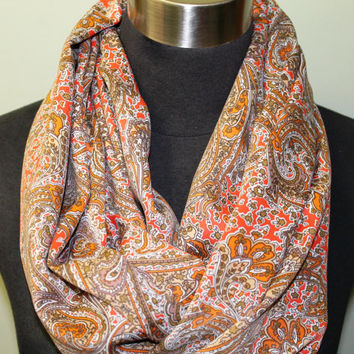 Orange, Gold, Brown Paisley Infinity Scarf