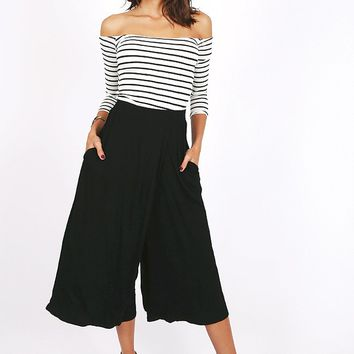 One Step Closer Wide Leg Cropped Pants