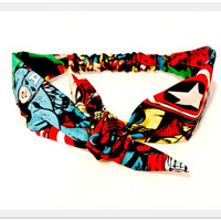 Comic Headband, Super Hero Tie Headband Spiderman Head Scarf Bow Tie Headband Spiderman, Hulk, Rockabilly Hairband