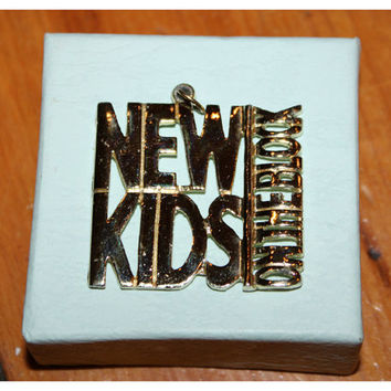 Vintage NEW KIDS on the Block Necklace Pendant / Gold NKOTB Charm / Main Event Tour / Jordan Knight, Joey McIntyre, Donnie Wahlberg