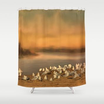 Seagulls On The Beach At Sunset Shower Curtain by Theresa Campbell D'August Art