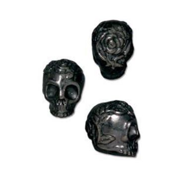 94-5685-13 - TierraCast Gunmetal Pewter Rose Skull Bead, 10mm | Pkg 2