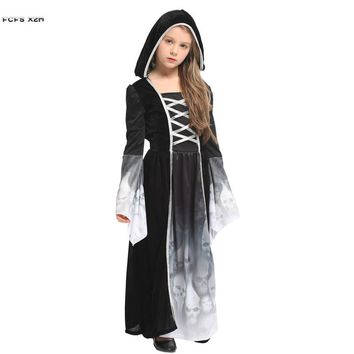 M-XL Girls Halloween Skeleton Scary Costumes Kids Children Demon Ghost Cosplays Carnivl Purim Stage play Masquerade party dress