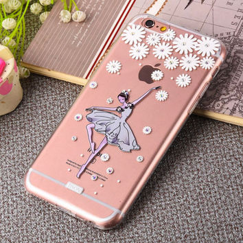 Blinking Rhinestone TPU Silicone Soft Girl Women Style Back Cover Case For Apple iPhone 6 6S 6 6S Plus Phone Case With Dust Plug