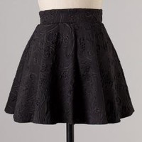 Object of Affection Swirl Embossed Mini Skater Skirt in Black | Sincerely Sweet Boutique