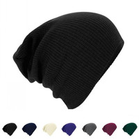 Men Knitted Beanie Cap Solid Color Hat Unisex Plain Warm Soft Beanie Winter Ski Slouchy Chic Cap Skull Knit Cap Knitted Touca Gorro Caps