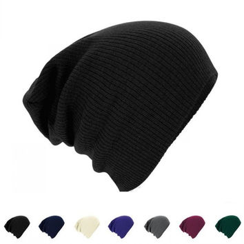 Men Knitted Beanie Cap Solid Color Hat Unisex Plain Warm Soft Beanie Winter Ski Slouchy Chic Cap Skull Knit Cap Knitted Touca Gorro Caps = 1958410500