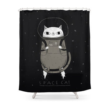 Society6 Space Cat Shower Curtain