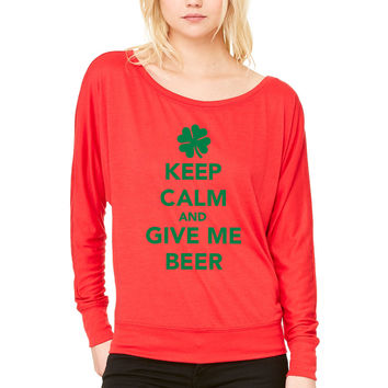 Keep calm St. Patricks day WOMEN'S FLOWY LONG SLEEVE OFF SHOULDER TEE