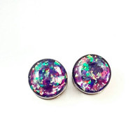 Purple holographic plugs / steel gauges / 8g, 6g, 4g, 2g, 0g, 00g, 7/16, 1/2, 9/16, 5/8, 11/16, 3/4, 7/8, 1 inch / purple plugs / sparkle