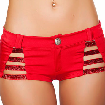 Red Shiny Strap Button Booty Shorts