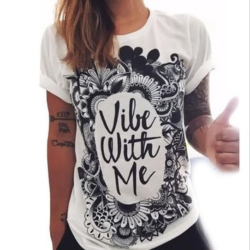 black and white fashion letter loose printing t shirts