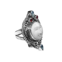 "AR-6095-CO1-8"" Sterling Silver Ring With Bone Face, Garnet & Blue Topaz"