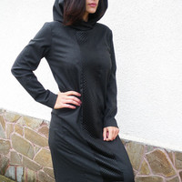 NEW COLLECTION  Long Extravagant Winter Dress /Wool  Long Sleeves  Tunic/Casual Warm Hooded Abaya/ Dark Grey Asymmetric Dress by moShic D014