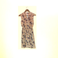 Light Summer Dress, Light Purple Girly Floral Vintage Dress, Sleeveless, Made In Japan Vintage