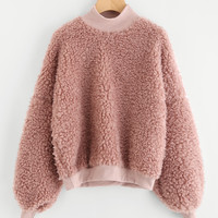 Lantern Sleeve Drop Shoulder Faux Fur Sweatshirt