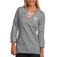 Pittsburgh Steelers Antigua Women's Hustle Lace-Up Hoodie – Black