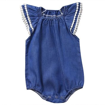 Cute Newborn Baby Girl Lace Romper Clothes Infant Bebes Lace Jumpsuit Denim Rompers Jumpsuit Sunsuit Outfits