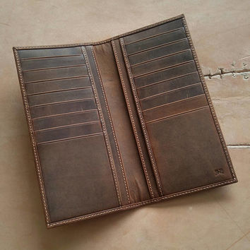 Wallet Checkbook for Gentlemen  Long leather personalized checkbook LEATHERIAN