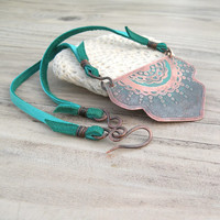 Turquoise Sunrise Necklace with Etched Copper and Deerskin Cord