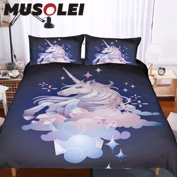 MUSOLEI Cute graphic unicorn in the sky. Vector fantasy art Bedding set,illustration Duvet cover set King size Home Textiles 3pc