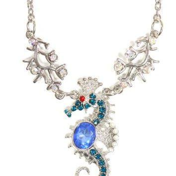 Crystal Seahorse Necklace Silver Tone Aquatic Coral Reef NP18 Beach Ocean Pendant Fashion Jewelry
