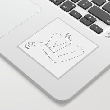 Minimal line drawing of woman's folded arms - Anna Sticker by thecolourstudy