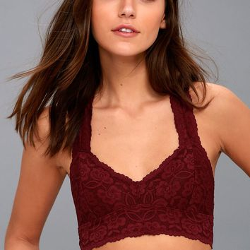 Galloon Racerback Burgundy Lace Bralette