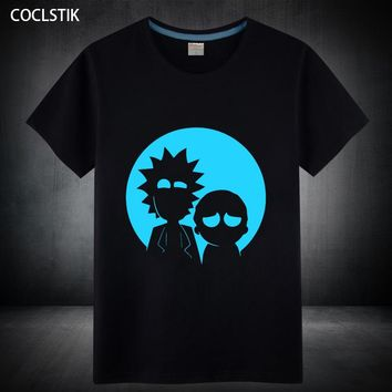 100% Cotton Children/Adult Summer Fluorescent Rick and Morty T Shirt Male/Mens Anime Luminous Kids Short Sleeve T-shirt S-5XL