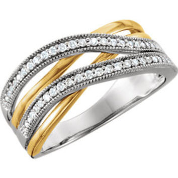 14K White & Yellow 1-4 CTW Diamond Criss Cross Ring
