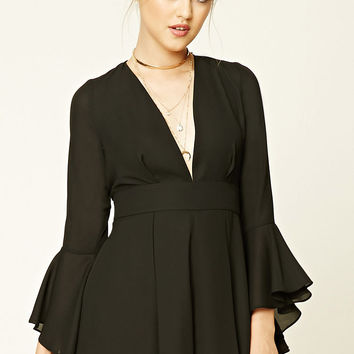 Plunging Bell-Sleeve Romper