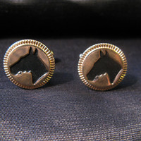 Horse cufflinks, horse racing, hickok vintage signed stamped