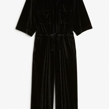 Velvet jumpsuit - Black magic - Jumpsuits - Monki GB
