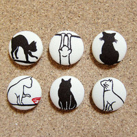 Button Push Pins / Thumb Tacks - Leisurely Cats in Cream