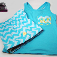 Chevron Shorts Turquoise and  Emboridered Chevron Pocket Tank boutique clothing  4/5, 6/6X, 7/ 8, 10/12  and 14