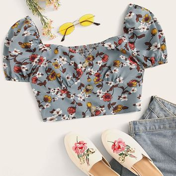 Button Front Botanical Print Shirred Crop Top