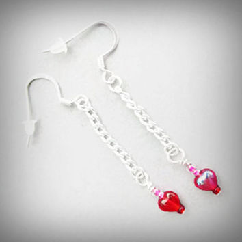 Red Heart Earrings, Chain Dangle Drop, Sweetheart Gift, Seed  Beads, Lovely Heart Bead Earrings, Silver Plated Ear Wires, Romantic Love Gift