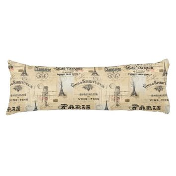 Paris Label Collage French Postcards Body Pillow