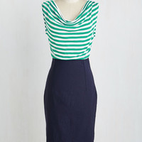 Nautical Mid-length Sleeveless Sheath Installation Premiere Dress